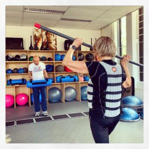 woman training with weight vest