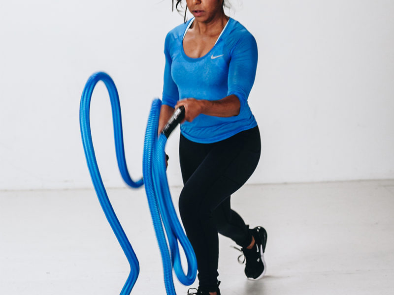 woman with hyper rope battle ropes