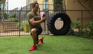 home gym workout routine reverse lunge & rotate